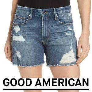 GOOD AMERICAN High Waist Cutoff Denim Jean Shorts